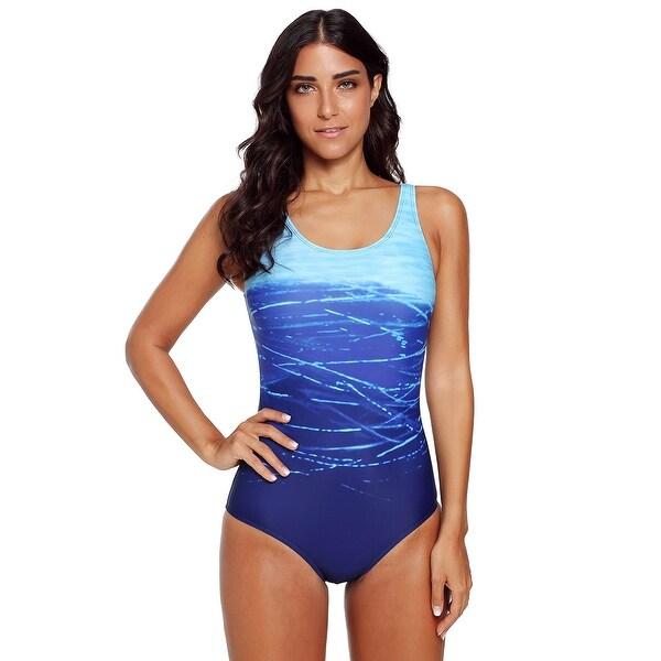 93db0668da Cali Chic Women's One Piece Swimsuit Celebrity Blue Gradient Criss  Cross Back