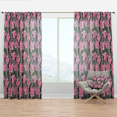 Designart 'Black Lacy Roses Pattern' Floral Curtain Panel