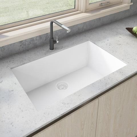 Ruvati 30 x 18 inch Granite Composite Undermount Single Bowl Kitchen Sink - Arctic White - RVG2030WH