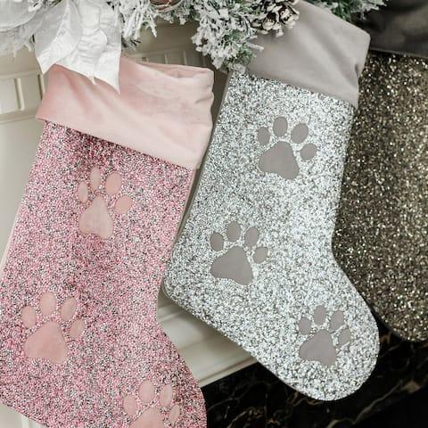 Sparkles Home Luminous Paw Print Rhinestone Dog Stocking