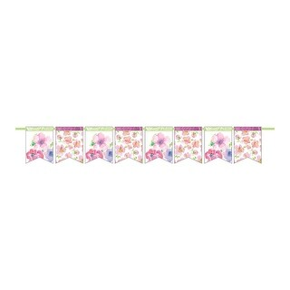 Club Pack of 12 Multi-Colored Warm Flora Pennant Paper Party Banner 6'