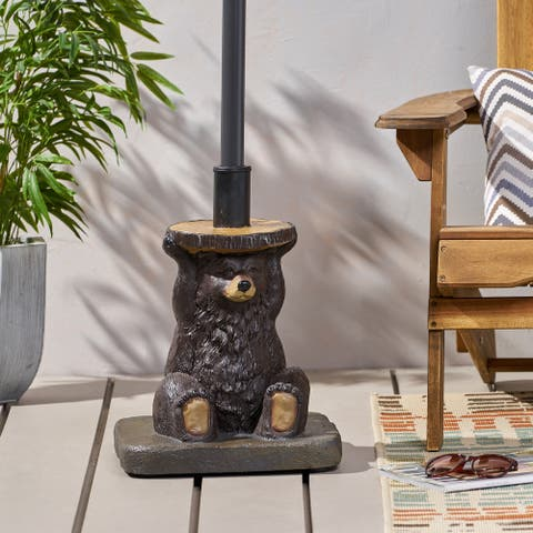 "Fenley Bear Umbrella Base by Christopher Knight Home - 13.50"" W x 13.50"" L x 18.00"" H"