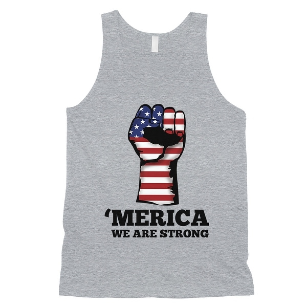 f36aa8063524f Shop Merica We Strong Tank Top Mens Grey 4th Of July Tank Top For ...