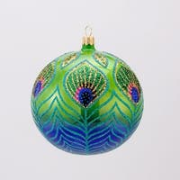 David Strand Designs Glass Blue and Green Peacock Christmas Ball Ornament 4""