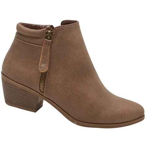 Adult Tan Double Side Zipper Closure Casual Trendy Ankle Boots