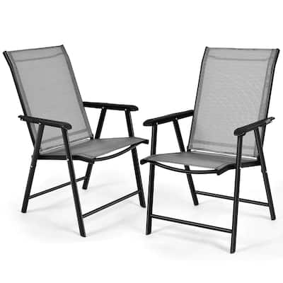Set of 2 Patio Folding Chairs Camping Deck Dining Chair
