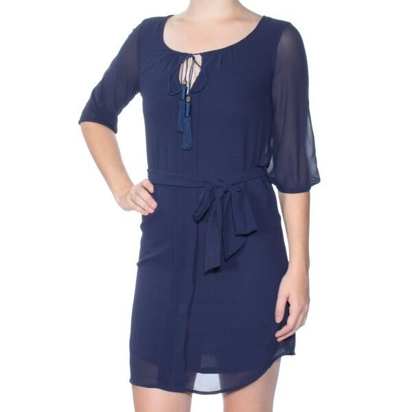 BCX Womens Navy Short Sleeve Keyhole Mini Sheath Dress Juniors Size: 2XS