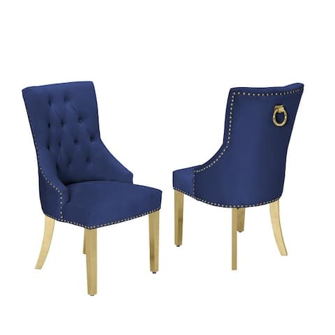 Best Quality Furniture Dining Chair with Nail-Head Trim, Tufted, Hanging Ring (Set of 2)