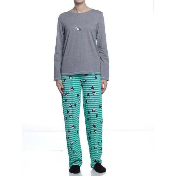 fc0ebd9090 Hue Sleepwear Women  x27 s Penguin Swimmer Long Sleeve Pajama Set With Socks