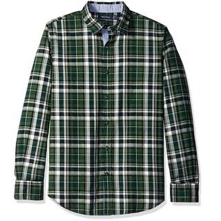 Nautica NEW Green Mens Size Large L Plaid Print Button Down Shirt