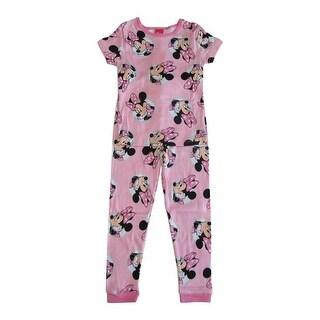 Disney Girls Pink Minnie Mouse Print Short Sleeve 2 Pcs Pajama Set