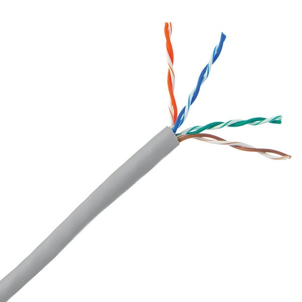 Offex Bulk Cat5e Gray Ethernet Cable, Solid, UTP (Unshielded Twisted Pair), Pullbox, 500 foot
