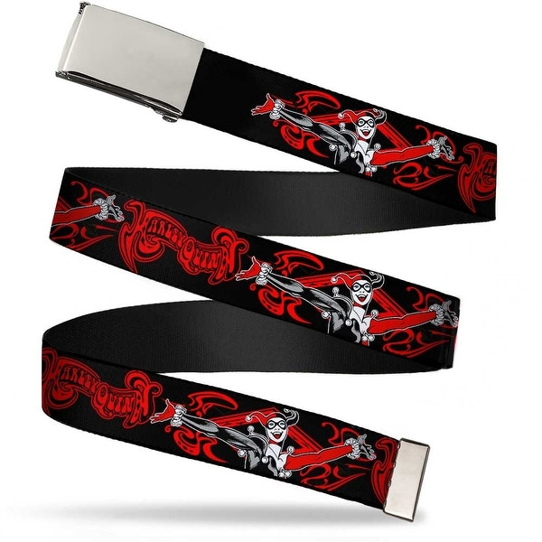 "Blank Chrome 1.0"" Buckle Harley Quinn Show Pose Black Red Webbing Web Belt 1.0"" Wide - S"