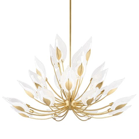 Hudson Valley Blossom 28-Light Gold Leaf Chandelier with Clear Glass