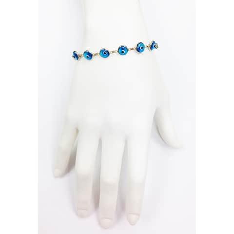 Mcs Jewelry Inc 14 KARAT YELLOW GOLD TURQUOISE EVIL EYE BRACELET