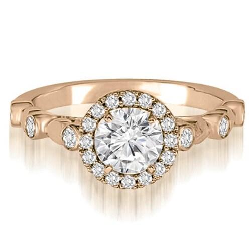 0.97 cttw. 14K Rose Gold Halo Round Cut Diamond Engagement Ring