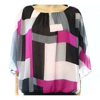 Vince Camuto NEW Pink Black Women's Size Large L Colorblock Blouse