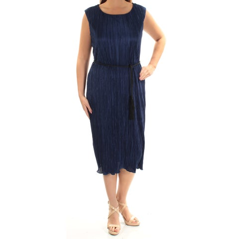 CONNECTED Womens Navy Tie Pleated Sleeveless Jewel Neck Below The Knee Shift Dress Size: 12