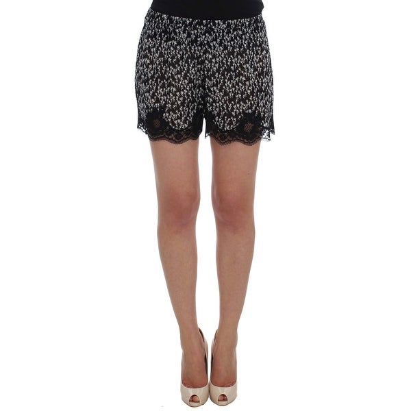 Shop Dolce   Gabbana Black White Floral Lace Silk Sleepwear Shorts ... da25d3b5f