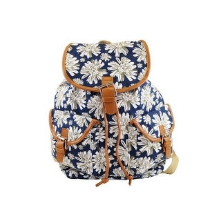 Hearty Trendy Girls Ivory Floral Print Flap Pockets Cotton Canvas Backpack