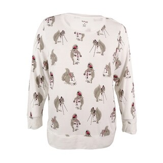 Style & Co. Women's Plus Size Rhinestoned Squirrel Graphic Sweatshirt - Winter White