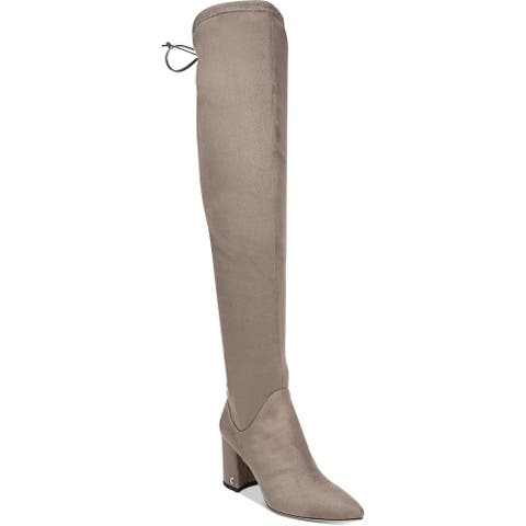 Circus by Sam Edelman Womens Hanover Thigh-High Boots Lace Back Signature - Flint Grey