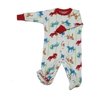 New Jammies Baby Boys Blue Horse Stripe Organic Cotton Footie Romper