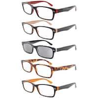 5-pack Spring Hinges Plastic Reading Glasses+1.5