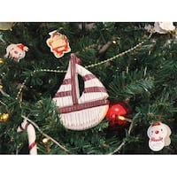 Wooden Rustic Decorative Sailboat Christmas Tree Ornament - Red &