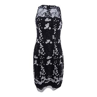 Betsey Johnson Women's Embroidered Mesh Illusion Dress - Black/White