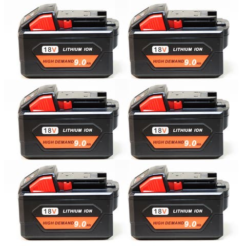 Replacement 9000mAh Battery for Milwaukee 2655B-20 / 2730-21 / 2780-20 Power Tools (6 Pk)