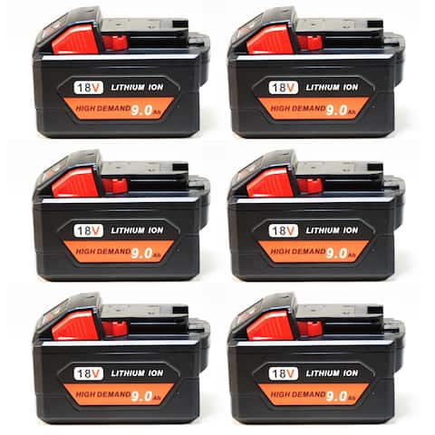 Replacement 9000mAh Battery for Milwaukee 2715-20 / 2758-22CT / 2899-22 Power Tools (6 Pk)