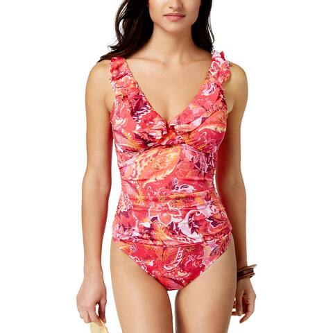 3cda0bcfdcf Lauren Ralph Lauren Womens Ruffled Tummy Control One-Piece Swimsuit 10 Coral