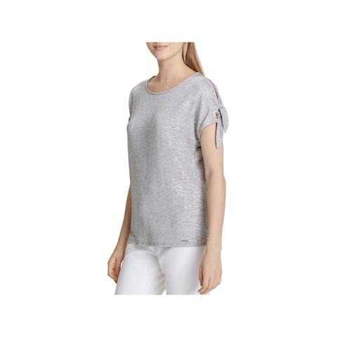 Calvin Klein Womens T-Shirt Cold Shoulder Tie-Sleeve