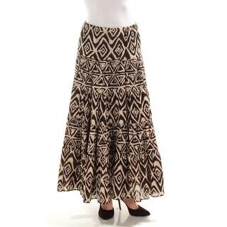 RALPH LAUREN $135 Womens New 1151 Brown Beige Geometric Fit + Flare Skirt XS B+B