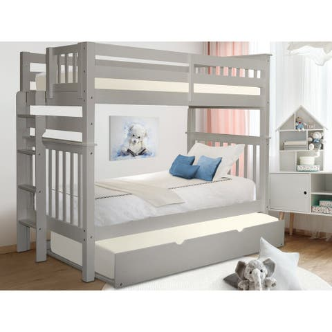 Taylor & Olive Trillium Grey Wood Twin-over-Twin Bunk Bed with Twin Trundle