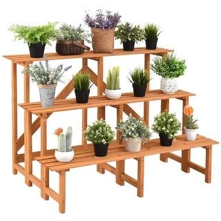 Costway 3 Tier Wide Wood Plant Stand Flower Pot Holder Display Rack Shelves Step Ladder