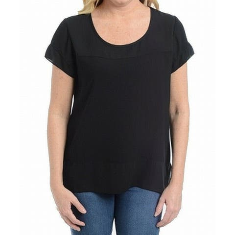 NY Collection Black Women's Size Medium M Scoop Neck Knit Top
