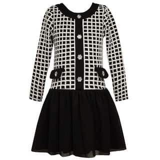 Bonnie Jean Little Girls Black White Square Pattern Occasion Dress 4-6X|https://ak1.ostkcdn.com/images/products/is/images/direct/02f12ff3b82415509b7af5196cdff46775b0bc08/Bonnie-Jean-Little-Girls-Black-White-Square-Pattern-Occasion-Dress-4-6X.jpg?impolicy=medium