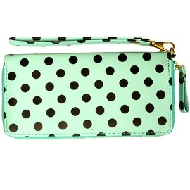 Polka Dot Wristlet Clutch Wallet With Wrist Strap, Mint Green - Medium