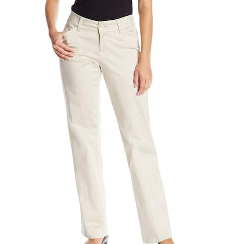 Lee Womens Dress Pants Beige Size 14 Curvy Fit Maxwell Trouser Stretch