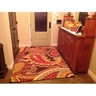 Hand-hooked Tessa Brown/ Multi Rug (5'0 x 7'6)