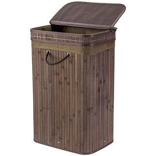 """American Art Decor Bamboo Laundry Hamper Basket with Divided Removable Liners, Handles, and Lid -  Espresso (25.5"""" x 16.25"""")"""