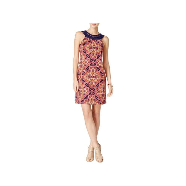 Jessica Howard Womens Missy Cocktail Dress Printed Sleeveless