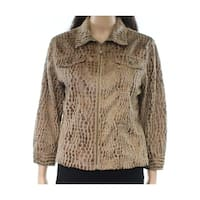 Ruby Rd. Brown Womens Size 10 Collared Textured Full-Zip Jacket