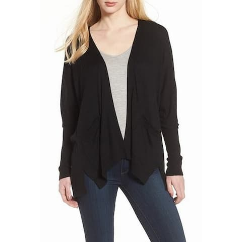 Trouve Women's Black Size XS Tie-Back Open-Front Cardigan Sweater