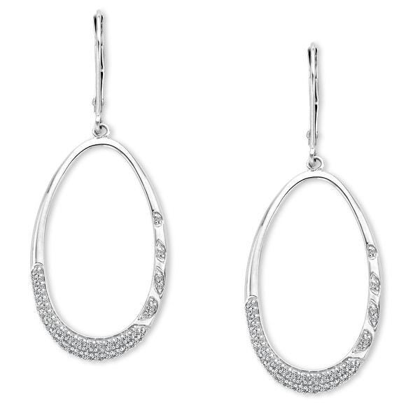 3/8 ct Diamond Drop Earrings in 14K White Gold