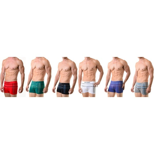 Men's Classic Seamless Boxer Briefs Shorts Shorts Underwear  6-Pack with Multi-Lines (One Size)