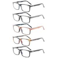 Eyekepper Spring Hinge 5-pack Retro Style Reading Glasses Include Sun Readers +2.25