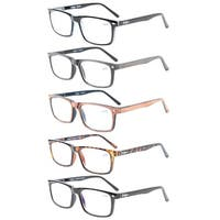 Eyekepper Spring Hinge 5-pack Retro Style Reading Glasses Include Sun Readers +3.5